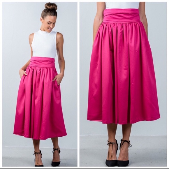37534540996eb NWT Pink Satin Midi Skirt in Size S. Boutique
